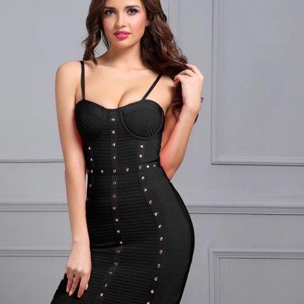 Black bandage dress with studs