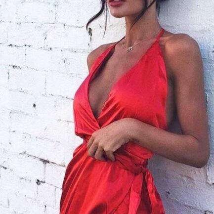satin red dress
